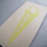 Ice Cream Letterpress Card in Banana, single card SPECIAL SUMMER EDITION