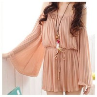 Open shoulder loose sleeve pleated bohemian dress
