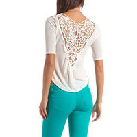 Crochet Back Knit Hi-Low Top: Charlotte Russe