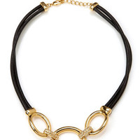 T TAHARI Black Pave Oval Toggle Necklace