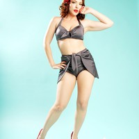 Vintage Pinup Bikini Top in Silver from Pinup Couture | Pinup Girl Clothing