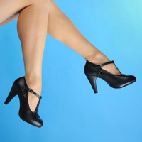 T Strap Pump with Teardrop Cutouts in Black | Pinup Girl Clothing