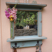 Craftsman Style Mirror with Shelves and Hooks in Sky Blue - Custom Order