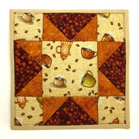 Coffee Fabric Pot Holder Quilted Hot Pad Kitchen Trivet