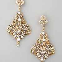Gold &amp; Crystal Chandelier Earrings