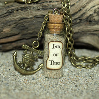 Necklace  Jar of Dirt and Antique Bronze Pirate Anchor Charm Disney Pirates of the Caribbean Jack Sparrow Tia Dalma