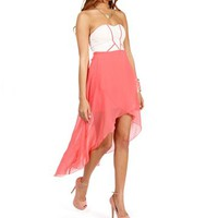 Coral Strapless Sweetheart Hi Lo Dress