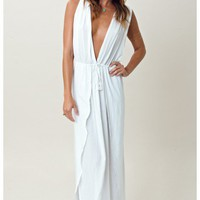 Indah V Neck Draped Cross Back Maxi
