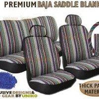Baja Inca Saddle Blanket Seat Cover Set - 11pc Front Rear Headrests Steering Wheel Cover & Seat Belt Pads & Bonus Detailing Wash Mitt : Amazon.com : Automotive