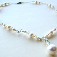 Bridal Necklace - Wedding Necklace - White Pearl Necklace - Spring Wedding Jewelry - Summer Wedding Jewelry - Pearl Crystal