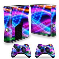 Amazon.com: Protective Vinyl Skin Decal Cover for Microsoft Xbox 360 S Slim + 2 Controller Skins Sticker Skins Light waves: Video Games