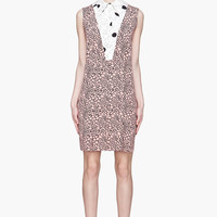 Marni Pink And Black Contrasting Collared Silk Dress for women | SSENSE