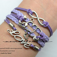 Purple bracelets -Silver infinity, elephants, LOVE bracelet Purple leather bracelet is the best gift