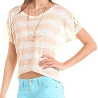 Crochet Sleeve Button-Back Hacci Top: Charlotte Russe
