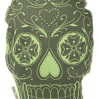 The Rise And Fall Pillow Sugar Skull in Lime