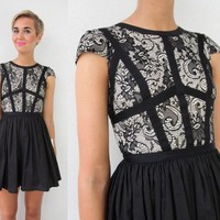 BLACK FLORAL PAISLEY LACE HARNESS BODICE CAP SLEEVE SKATER DRESS XS S M L