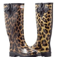 Women`s Leopard Design Flat Wellies Rubber Rain & Snow Boots RainBoots: Shoes