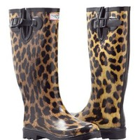 Women`s Leopard Design Flat Wellies Rubber Rain &amp; Snow Boots RainBoots: Shoes