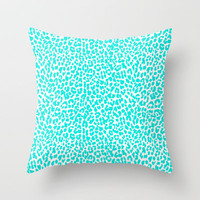 Turquoise Leopard Throw Pillow by M Studio