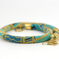 "Bead Crochet Necklace ""Samarqand""  Turquoise  Blue  Brown  Yellow 24K Gold  Geometric Modern  Beadwork Jewelry  Multicolors Made to order"