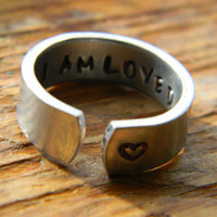 I am loved   aluminum cuff style ring 1/4 inch