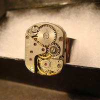 Steampunk Watch Movement Ring with Exposed Gears (1063)