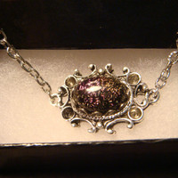 Victorian Style Dichroic Glass Necklace in Antique Silver (1066)