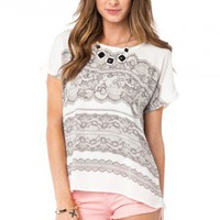 Lace Print Tee - ShopSosie.com