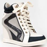 Bamboo JODIE-01 Glitter Detailed Hidden Wedge Heel Lace Up High Top Wedge Sneaker Shoe: Shoes