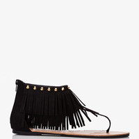 Faux Suede Fringe Thong Sandals | FOREVER 21 - 2039284682