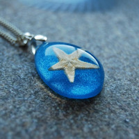 Real Starfish Necklace Blue Nautical Large by NaturalPrettyThings