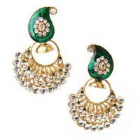 Paisley Green Earrings - INDIAN BAZAAR Paisley Green Earrings