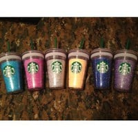 Starbucks grande 16 oz glitter cups!!! You choose color!!!: Everything Else