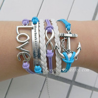 "Infinity Love,anchor,""where there's a will there's a way""bracelet,purple and light blue wax rope,white leather Bohemian style bracelet"