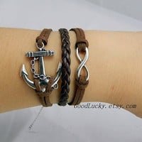 Infinity bracelet,anchor Charm bracelet,Silver parts bracelet,brown wax rope leather braided bracelet,Friendship Gift - Best Chosen Gift