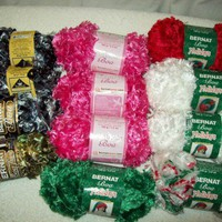 Novelty Yarns Destash Lot of Boa Yarns Bernat Lot of 12+1partial