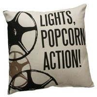 Lights, Popcorn, Action! Large Home Theater / Cinema Throw Pillow - 20-in x 20-in