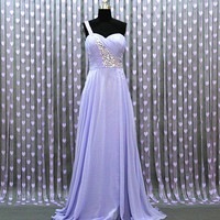 A-line Chiffon Floor-Length Prom Dress/Graduation Dress