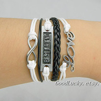 Best Friend,Silver Infinity Love Charm bracelet,white&black wax rope leather braided Zebra color bracelet,Friendship Gift-Best Chosen Gift