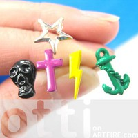Mix and Match - Anchor Cross Lightning Bolt Skull Star Stud Earrings