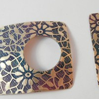 Flowers, Leaves and Vines Etched Brass Toggle Clasp 1.5&quot;