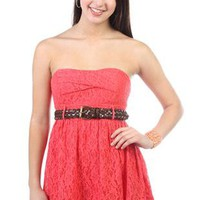 strapless casual lace dress with pleated skirt and leather belt - 1000047951 - debshops.com