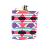 Stainless Steel Hip Flask with aztec geometric wrap - 4oz 6oz 2oz 1oz