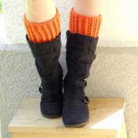 crochet boot cuffs in pumpkin, leg warmers