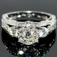 Bridal 3 Stone Style Vintage 2ctw Diamond Engagement Wedding Ring 14K White Gold: Jewelry