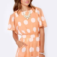 Soft Spot Peach Polka Dot Romper
