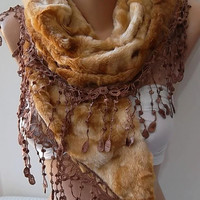 Gorgeous Scarf / Shawl   Elegant and Classy ...fur fabric...honey color...2013