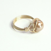Mocha and Gold Wire Wrapped Ring