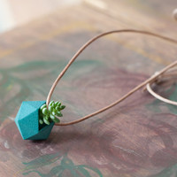 Miniature Icosahedron in Teal: A Wearable Planter