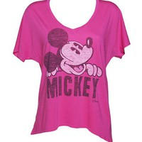 Ladies Hot Pink Mickey Mouse Oversized T-Shirt From Junk Food : TruffleShuffle.com